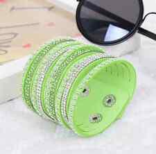 Fashion Leather Punk Unisex Rhinestone Crystal Wrap Wristband Bangle Bracelet