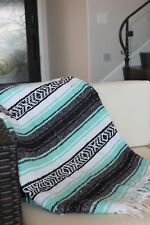 NEW LARGE 5X7 Mint Serape Falsa  Beach Blanket Hippie Yoga Festival Lightweight