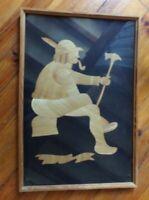 TABLEAU EN MARQUETERIE DE PAILLE / 63 X 41 cm / TBE