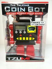 "Tzumi Talking Coin Bot Retro Robot Bank Speaks & Eyes Light Up 8"" Tall"