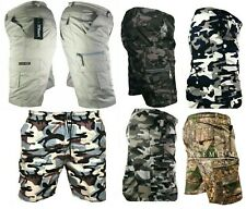 Mens Army Plain Camouflage Cargo Elasticated Shorts poly- Cotton Combat Half