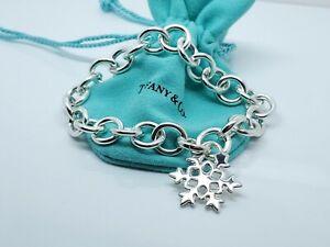 """Tiffany & Co Silver Snowflake Snow Flake Charm Bracelet 7.5"""""""
