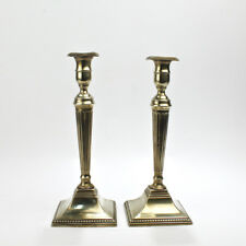 Pair English 18C Georgian Fluted and Tapered Brass Candlesticks - Vr