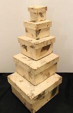 Natural Paper Mache Nesting Boxes, Set Of 5, Botanical Decoupage
