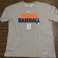 NIKE Gray Detroit Tigers MLB Baseball Dri-Fit T-Shirt Adult Men's Size Large
