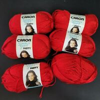 Caron Simply Soft Party Yarn Lot Red Sparkle Metallic Worsted Weight Acrylic