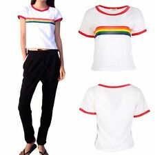 UK Women Rainbow Striped Crew Neck Short Sleeve T Shirt Casual Soft Blouse Tops