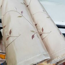 Beige FAUX SILK SLUB Taffeta Fabric Embroidered Flower Curtain Dress Quilting