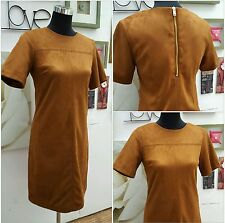 DUNNES STORE SUEDETTE PANEL DETAIL TAN SHIFT DRESS with GOLD ZIP SIZES 8 To 20