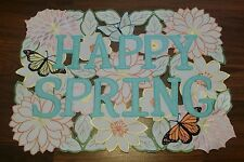 EASTER SPRING CUT OUT BUTTERFLY FLOWER HAPPY SPRING 4 PLACEMATS PINK BLUE YELLOW