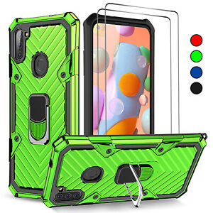 For Samsung Galaxy A11 A12 Case, Shockproof Ring Cover + Glass Screen Protector