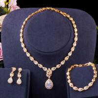 CWWZircons 3pc Luxury Cubic Zirconia 585 Gold Bridal Wedding Costume Jewelry Set