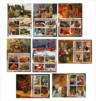 2011 PAUL GAUGUIN PAINTINGS ART 8 SOUVENIR SHEETS MNH UNPERFORATED