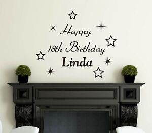 2x Happy Birthday Party Sticker Personalised Name Vinyl Wall Decor 20cm x 30cm