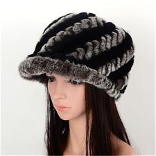 d3a30c78edf5f Women Fashion Real Rex Rabbit Fur Newsboy Hat Winter Warm Fur Braided Beret  Cap