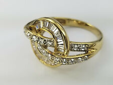 5.7 Gr Ring 7 1/4 14k Solid Gold Bypass Cz Baguette