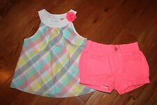 NWT Gymboree Ice Cream Parlor 5T Set Plaid Swing Top Shirt Pink Bubble Shorts