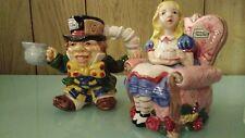 Fitz & Floyd Alice in Wonderland Sugar Bowl w/ Lid & Mad Hatter Creamer -1992-