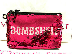 Victoria's Secret Bombshell Bling Red Sequin Cosmetic Makeup Clutch Bag NWT