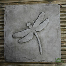 DRAGONFLY GARDEN WALL PLAQUE Hand Cast Stone Garden Ornament ⧫onefold Uk