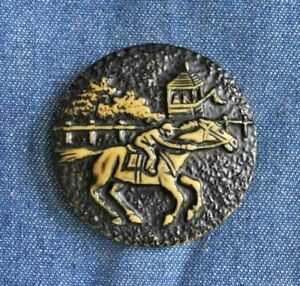 """Fabulous Antique Early Plastic Racehorse & Rider Button 1 3/4"""""""