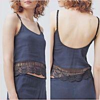 SALE Navy Blue Crochet Lace Cropped Top Size M UK 10 US 6  Blogger ❤