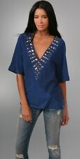NEW RE COLLECTION Top STUDDED PATCHWORK TUNIC TOOP SHIRT V NECK BLOUSE BOHO 1 S