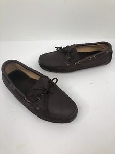 Minnetonka Mens brown Leather Sheepskin Hard Sole driving shoes  Moc Slippers 8