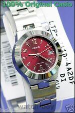 LTP-1241D-4A2 Red Casio Edelstahlband Damenuhren Datumsanzeige Neu