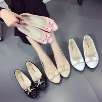 Women Ladies Diamante Bow-Knot Ballerina Ballet Dolly Pumps Flat Boat Shoes Size
