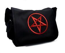 Red Inverted Pentagram School Messenger Bag Occult Black Metal Death Goth Sling