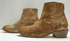 ladies womens brown suede distressed look shiny ankle boots Size 3 EU 36
