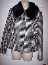 CASUAL CORNER ladies JACKET blazer black white gigham fur NWT $159 size 8 dressy