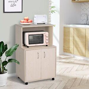 Rolling Kitchen Trolley Microwave Cart Cabinet Storage Shelves w/ Wheels Oak