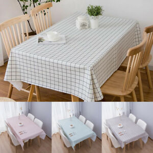 Stylish PVC Waterproof Tablecloth Stripe Grid Oil Proof Table Cover Home Picnic