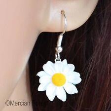 Daisy Hook Earrings, Handmade Polymer Clay, Summer Flower, Nature, Kitsch, Gift