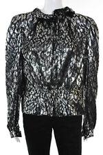 Pauline Trigere Silver Black Animal Print Long Sleeve Blouse Size Medium