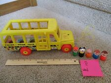 Vintage Fisher Price Little People School Bus 5 Figures 192 Mommy boy girl LOT D