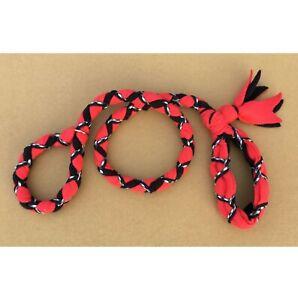 Handmade Dog Leash Fleece and Paracord Slip-Lead Red over Black w Black/White