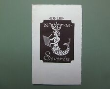 EX LIBRIS Bookplate Ernst GOHLERT for N & M Severin mermaid writing sirène