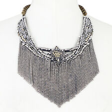 Shourouk Daisy Duke Brass Chain Swarovski Crystal Bib Necklace