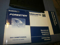 2002 SUBARU FORESTER OWNERS MANUAL OWNER'S  SET CASE BOOK VERY NICE MANUALS