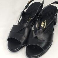 SAS Tripad Comfort Caress Womens 7 S Black Leather Low Wedge Dress Sandals USA