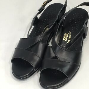 SAS Low Wedge Dress SandalsTripad Comfort Caress Womens 7 S Black Leather  USA