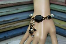 Stretch Bracelet Black Agate and Turquoise w Cascading Pearls Beads Crystals