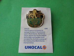 Oakland A's Athletics World Series 1989 Battle Bay Lapel Hat Pin #5 Unocal 1990