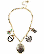 NWT Betsey Johnson 'Skeletons After Dark' Cameo Skull Spider Pendant Necklace