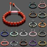 Men Women 8mm Natural Gemstones Macrame Loose Beads Bracelet Adjustable Handmade