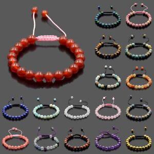 Men Women 8mm Natural Gemstones Macrame Loose Beads Bracelet Adjustable Handmade