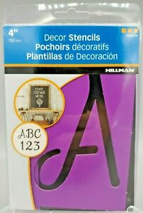Hillman 4 inch Script Reusable Decor Stencils #840244 Letters Numbers